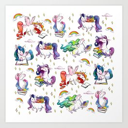 Reading Unicorn Pattern Art Print
