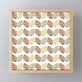 Retro Leaves Pattern Framed Mini Art Print