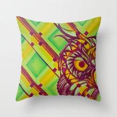 Green Owl Throw Pillow