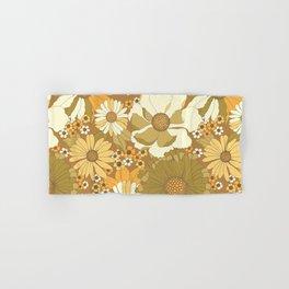 Brown, Orange, Ivory & Green Vintage Flower Pattern Hand & Bath Towel