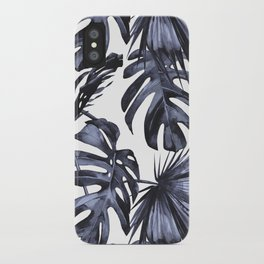 Classic Palm Leaves Navy Blue iPhone Case