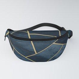 Dark Midnight Navy Blue Gold Geometric Glam #1 #geo #decor #art Fanny Pack