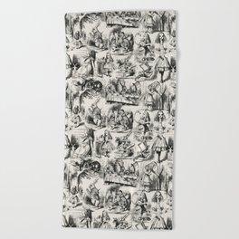 Alice in Wonderland   Toile de Jouy   Black and Beige Beach Towel