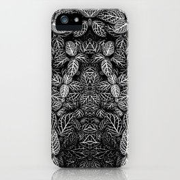 black white hosta leaves leaf skeletons pattern iPhone Case