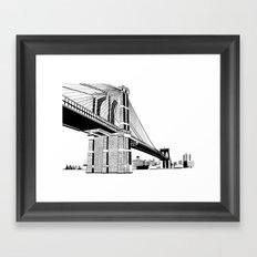Brooklyn Bridge Black and White Framed Art Print