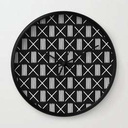 Mudcloth xs and lines black Wall Clock