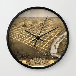 Bird's Eye View of Topeka, Kansas (1869) Wall Clock