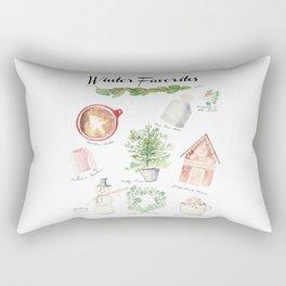Winter Favorites in Watercolor Rectangular Pillow