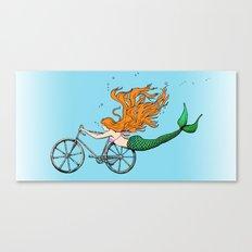 Mermaid on a Bike in Blue Canvas Print