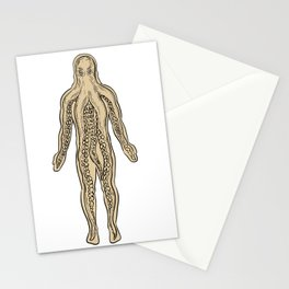 Alien Octopus Inside Human Body Drawing Stationery Cards