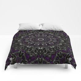 Purple, Gray, and Black Kaleidoscope 3 Comforters