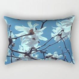 White Magnolia Bloom Blue Sky Rectangular Pillow