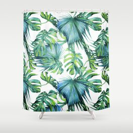 Blue Jungle Leaves, Monstera, Palm #society6 Shower Curtain