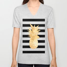 Gold Pineapple Black and White Stripes Unisex V-Neck