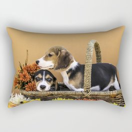 Two Beagle Puppies in Basket with Autumn Colored Flowers Rectangular Pillow