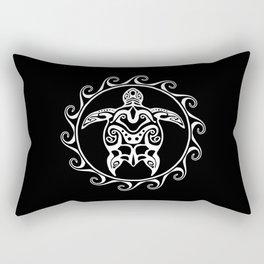 White Tribal Turtle Rectangular Pillow