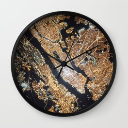 New York City, Map in Gold Wall Clock