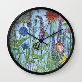 Watercolor Garden Flower Botanical Wildflowers Lady Slipper Orchid Wall Clock