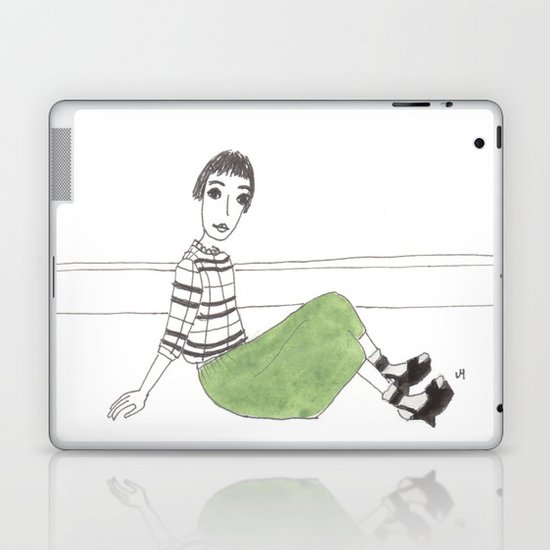 girl on the floor Laptop & iPad Skin