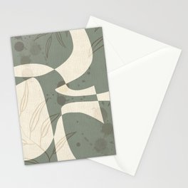 Abstract - Vase Shapes in Artichoke Green Stationery Cards