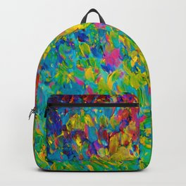 RAINBOW FIELDS - Colorful Abstract Acrylic Painting Ocean Waves Blue Teal Magenta Nature Fine Art Backpack