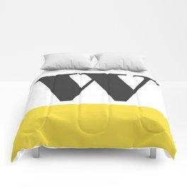 Monogram Letter W-Pantone-Buttercup Comforters