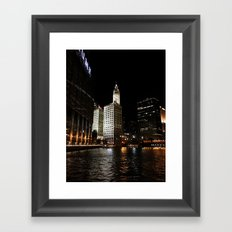 Wrigley Building and Chicago River at Night Color Photo Framed Art Print