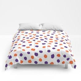 Orange and purple clemson polka dots university college alumni football fan gifts Comforters