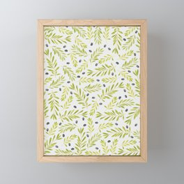 Watercolor Olive Branches Pattern Framed Mini Art Print