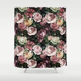 Vintage & Shabby chic - dark retro floral roses pattern Shower Curtain