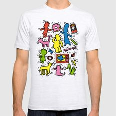 Keith Haring & Simpsons MEDIUM Ash Grey Mens Fitted Tee
