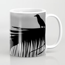 Bird silhouette with palm tree leaf in the Caribbean Coffee Mug