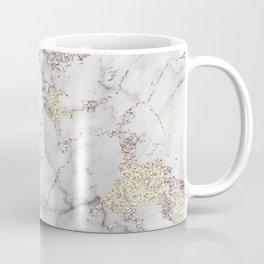Champagne Rose Gold Blush Metallic Glitter Foil On Gray Marble Coffee Mug