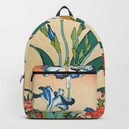Katsushika Hokusai - Kingfisher With Irises And Red Pinks - Digital Remastered Edition Backpack
