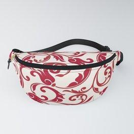 Red Dark Raspberry Seamless Floral Motif Fanny Pack