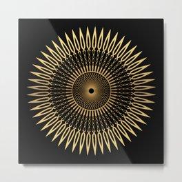SPIKE - gold black mandala Metal Print