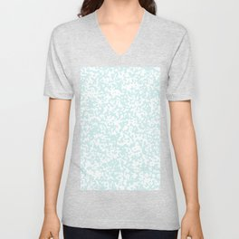 Small Spots - White and Light Cyan Unisex V-Neck