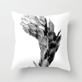 Black & White Tropical Flower Throw Pillow