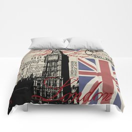 London Great Britain Big Ben Flag Collage Comforters