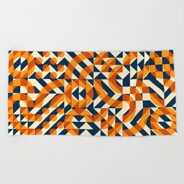Orange Navy Color Overlay Irregular Geometric Blocks Square Quilt Pattern Beach Towel