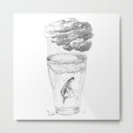 Whale in a glass Metal Print