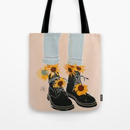 Flower Boots Tote Bag