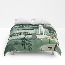Chicago Travel Poster Illustration Comforters