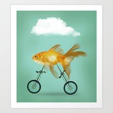 2 wheeled goldfish Art Print