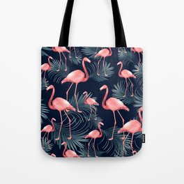 Summer Flamingo Palm Night Vibes #1 #tropical #decor #art #society6 Tote Bag