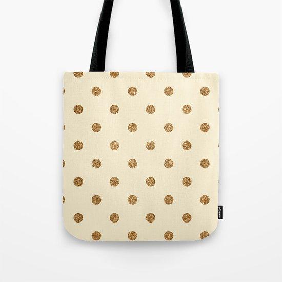 Cream Gold Glitter Dots Tote Bag