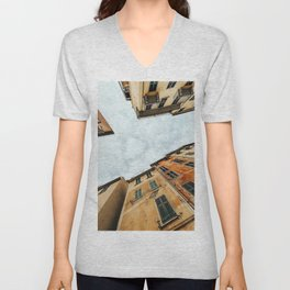 colored buildings in italy Unisex V-Neck
