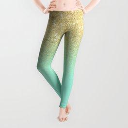 Modern gold ombre mint green block Leggings