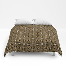 Art Deco Floral Tiles in Browns and Faux Gold Comforters