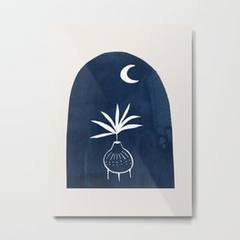 Minimalist Modern Mid century Ink Line Drawing Potted Plant Navy Paper Collage Moonlight Ancient Culture by Ejaaz Haniff Metal Print